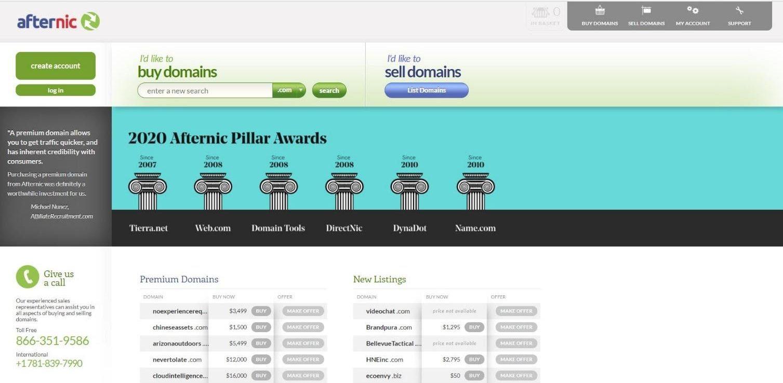 Tampilan Website Afternic